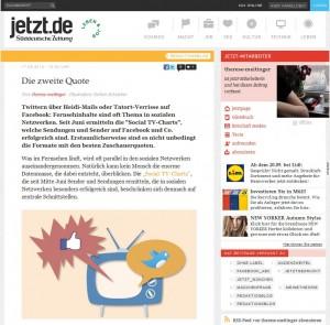 Screenshot auf jetzt.de zu Social TV