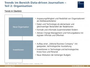 VDZ White Paper von Goldmedia: Data-driven Content, Auszug Daten-Journalismus. Organisation