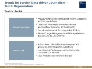 VDZ White Paper von Goldmedia: Data-driven Content, Auszug Daten-Journalismus. Organisation