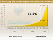 Entwicklung Twitter-Registrierung in Prozent weltweit